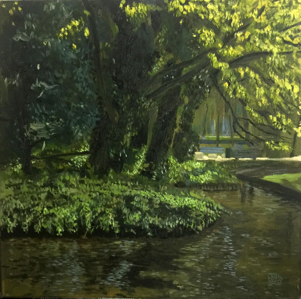 Small lakeside in westerpark with sun