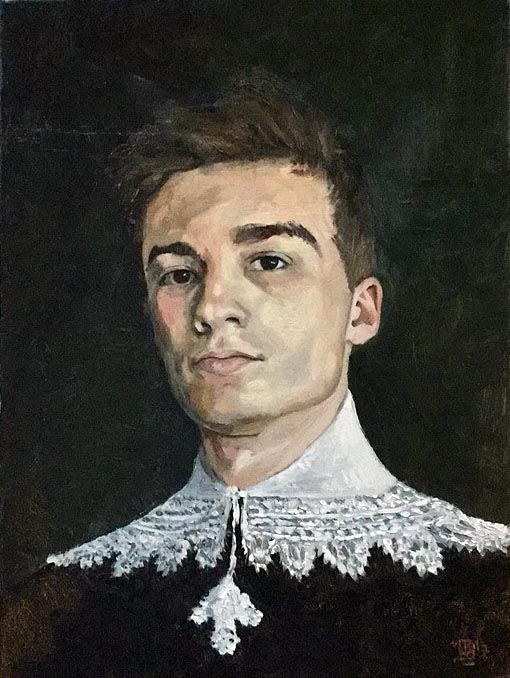 Portrait of young man in 17c clothing